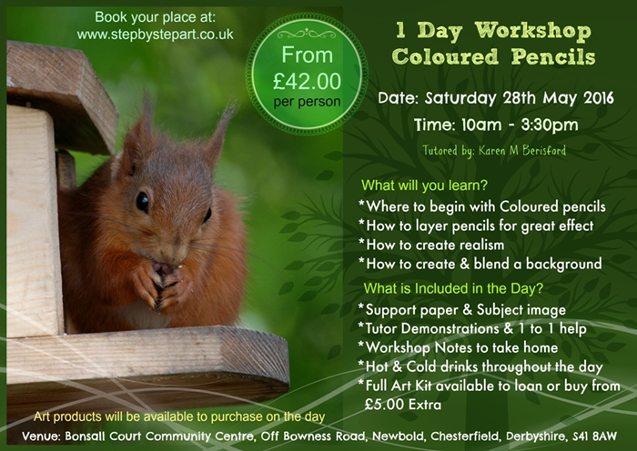 Advert for the Red Squirrel 1 Day coloured pencil art workshop in chesterfield, derbyshire tutored by Karen M Berisford