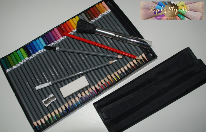 Step by Step Coloured pencils Art Kit comprising of WH Smith Coloured pencils and other tools