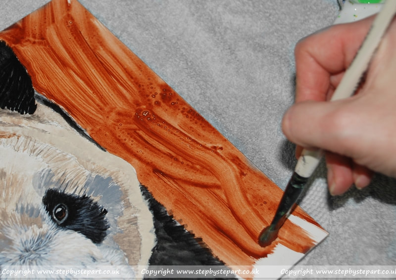 Applying a wash of Burnt Sienna wash in preparation for the tonal background