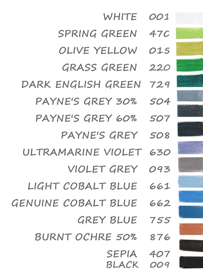 Caran Dache Luminance colour chart for Blueberries tutorial