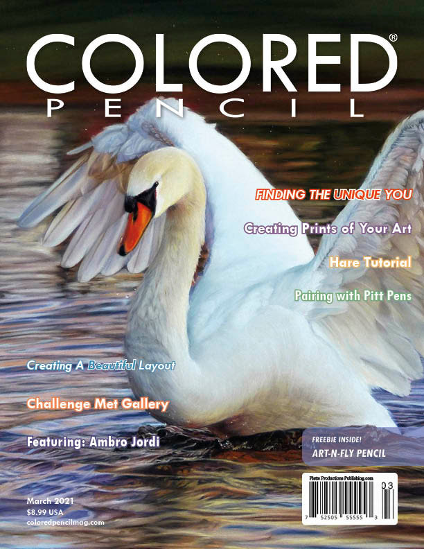 Colored pencil magazine front page March 2021