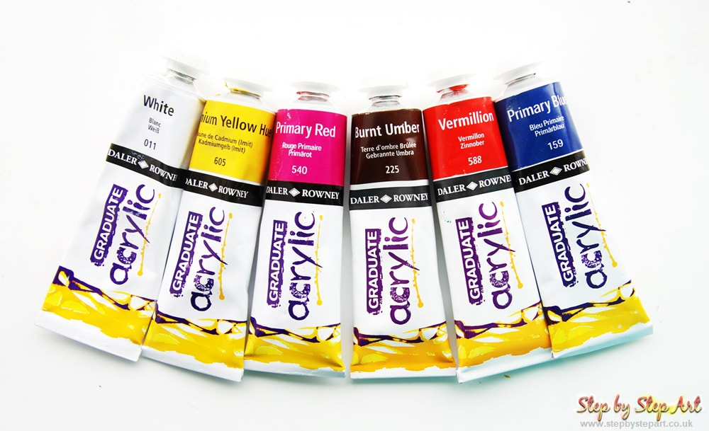 Daler Rowney graduate acrylic paints in White, Cadmium Yellow Hue, Primary Red, Burnt Umber, Vermillion and Primary Blue