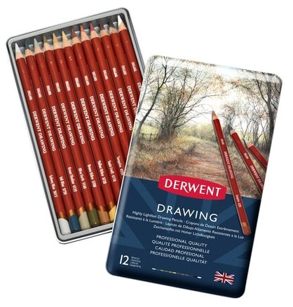 Derwent Drawing coloured pencils tin of 12