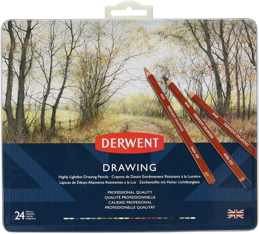 Derwent Drawing coloured pencils tin of 24