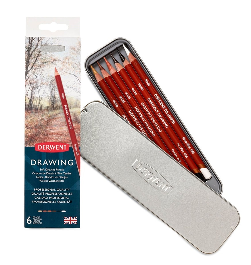 Derwent Drawing coloured pencils tin of 6