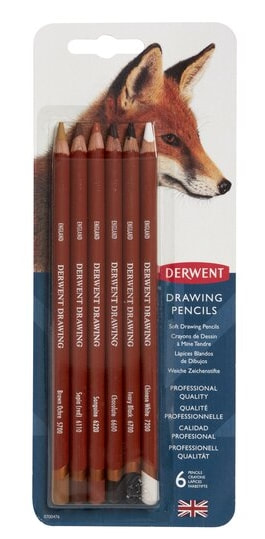 Derwent Drawing coloured pencils blister pack of 6