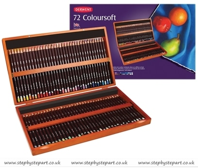 Derwent Coloursoft coloured pencils wooden box containing 72 pencils image