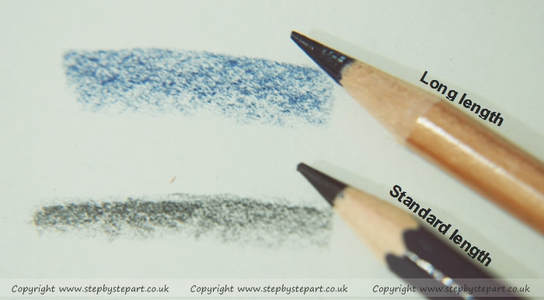 Pencil thickness applications of 2 coloured pencil brands