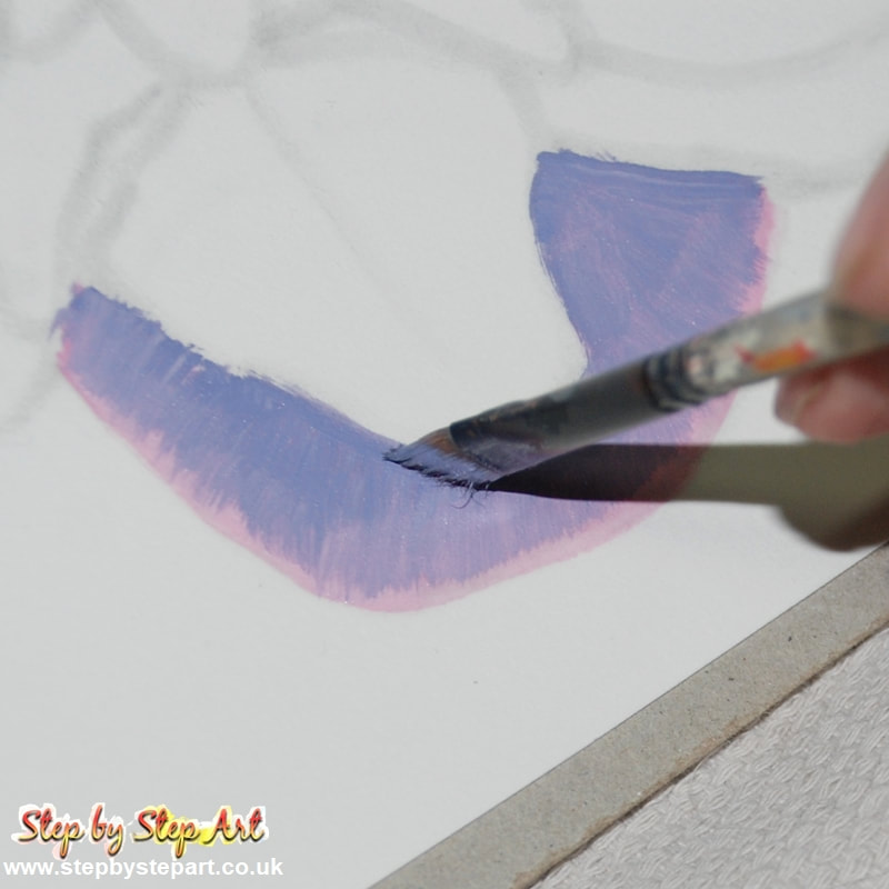 Applying a lilac tone to the sepal of a pink orchid acrylic painting