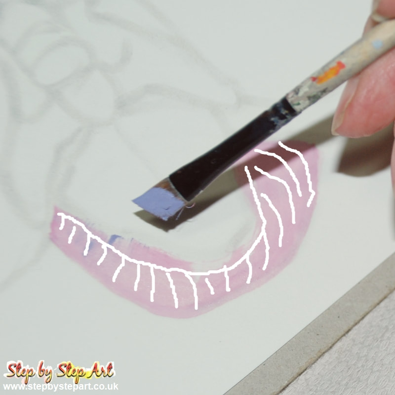 Applying a light pink base  to the sepal of a pink orchid