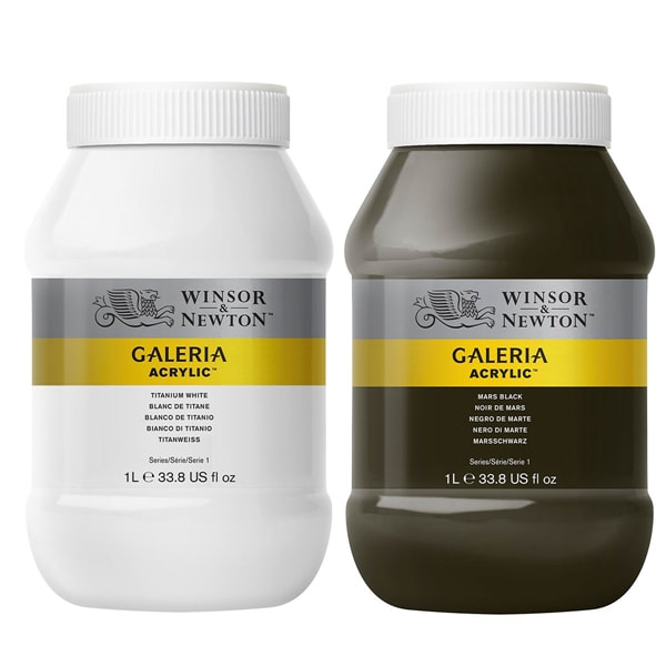 Galeria Acrylic paints 1 Litre pots in White and Black