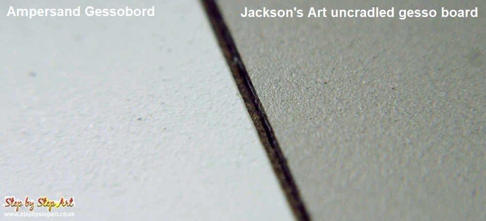 Ampersand gessobord and jackson's art uncradled gesso board magnified comparison
