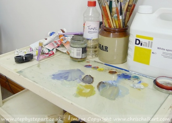 A studio set up for an oil painter with a glass palette