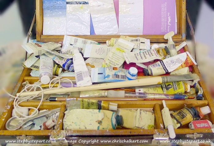 Pochade box full of Oil paints and other art products owned by Artist Chris Chalk