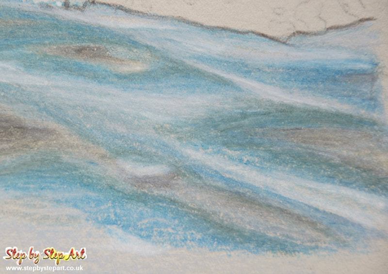 Water texture created with coloured pencils on st cuthbert's somerset paper