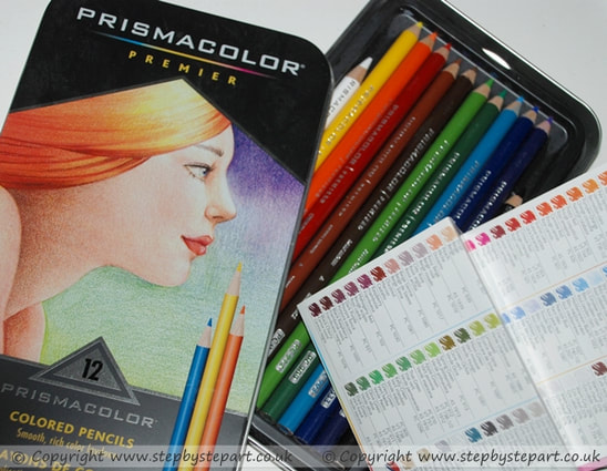 A image of a tin of Prismacolor Premier coloured pencils including colour chart