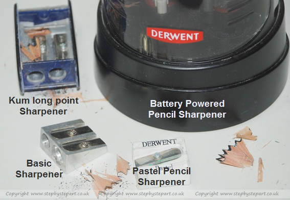 Pencil sharpeners including derwent electric, Kum long point sharpener, derwent pastel pencil sharpener and double metal sharpener