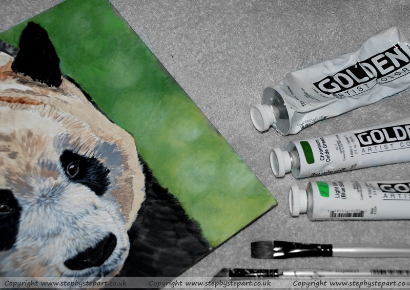 Giant Panda painting and green tonal background with GOLDEN Heavy Body Acrylics