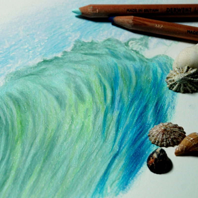 Waves drawn in Derwent Lightfast coloured pencils - mini tutorial
