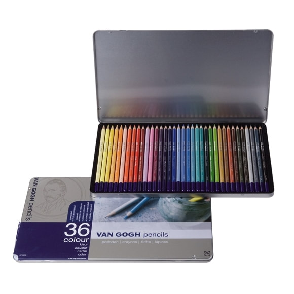 Van Gogh 36 set of coloured pencils in a tin