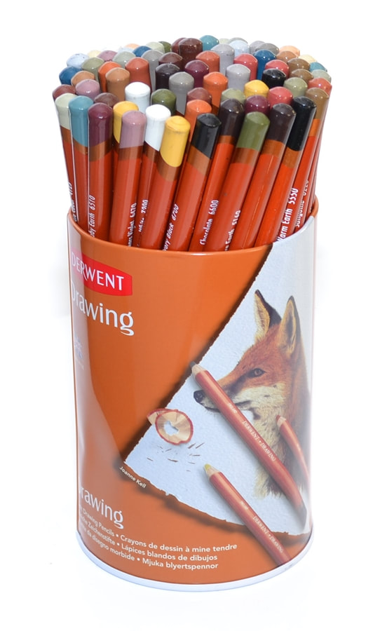 Derwent Drawing coloured pencils metal tin containing 72 pencils