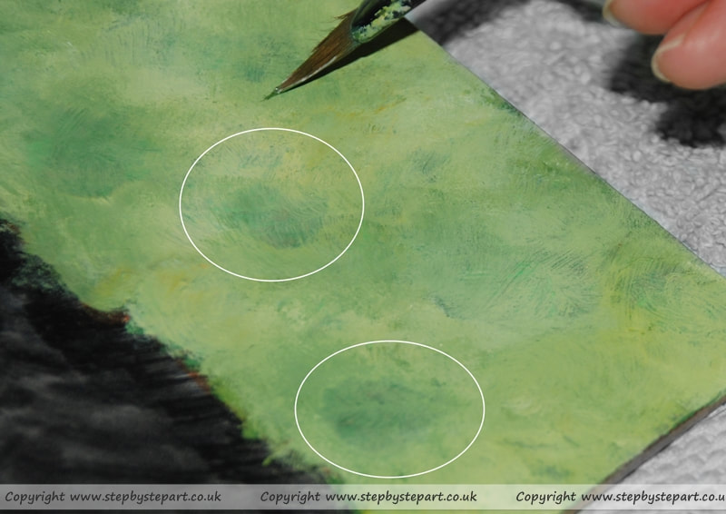 wash patches from an Acrylic paints tonal background tutorial