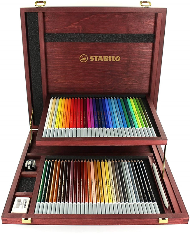 Stabilo CarbOthello Pastel pencils in a tin